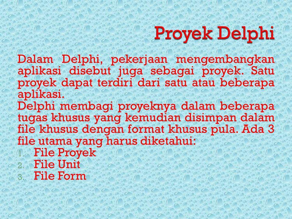 Dalam Delphi, pekerjaan mengembangkan aplikasi disebut juga sebagai proyek. Satu proyek dapat terdiri dari satu atau beberapa aplikasi. Delphi membagi