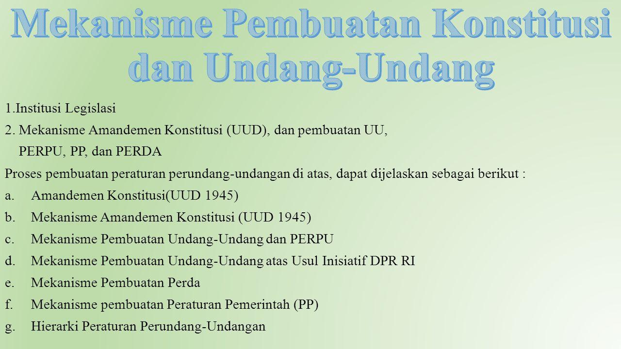 1.Institusi Legislasi 2. Mekanisme Amandemen Konstitusi (UUD), dan pembuatan UU, PERPU, PP, dan PERDA Proses pembuatan peraturan perundang-undangan di