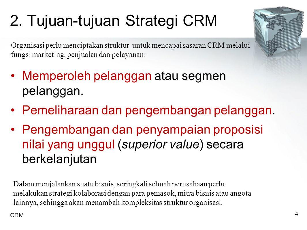 2.Tujuan-tujuan Strategi CRM Memperoleh pelanggan atau segmen pelanggan.