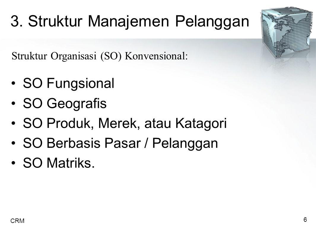 3. Struktur Manajemen Pelanggan SO Fungsional SO Geografis SO Produk, Merek, atau Katagori SO Berbasis Pasar / Pelanggan SO Matriks. Struktur Organisa