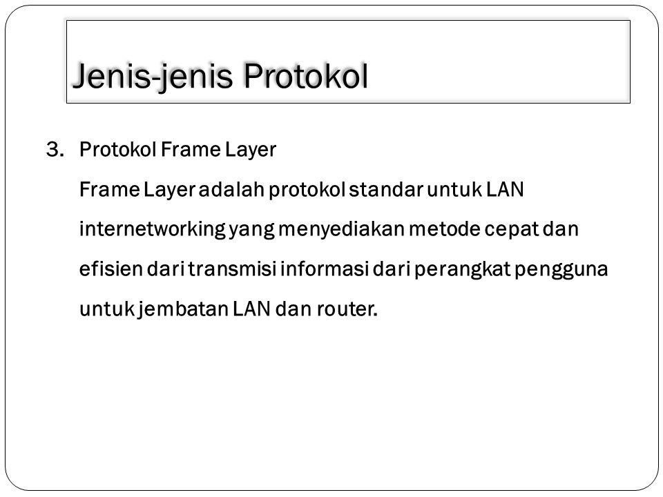 Jenis-jenis Protokol 3.Protokol Frame Layer Frame Layer adalah protokol standar untuk LAN internetworking yang menyediakan metode cepat dan efisien da