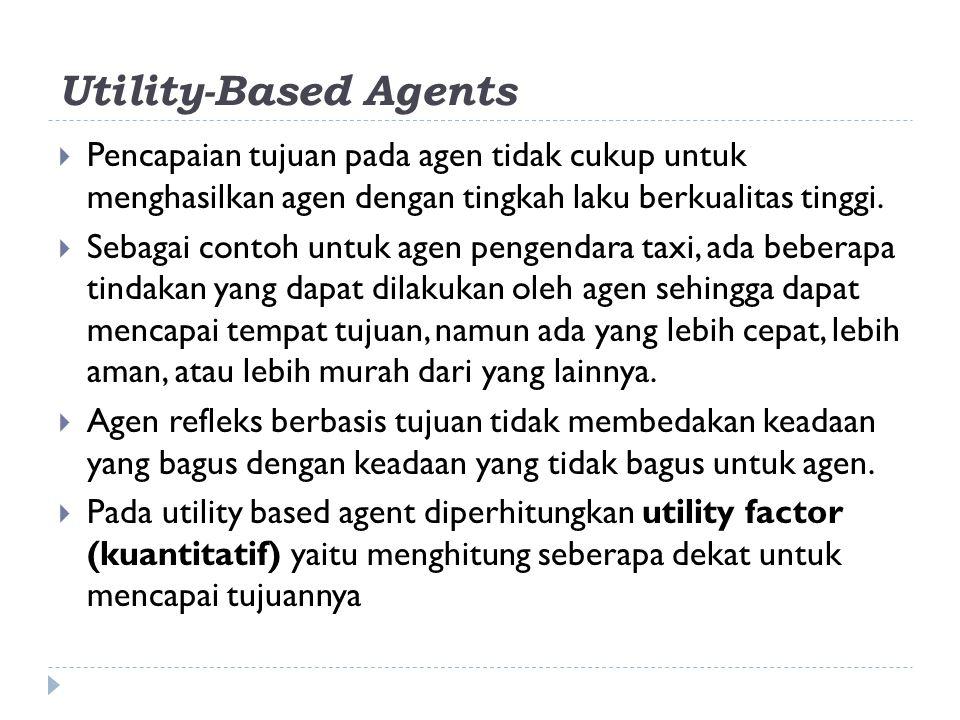Utility-Based Agents  Pencapaian tujuan pada agen tidak cukup untuk menghasilkan agen dengan tingkah laku berkualitas tinggi.  Sebagai contoh untuk