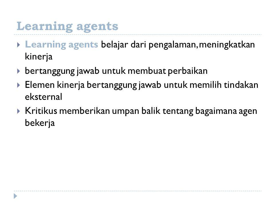 Learning agents  Learning agents belajar dari pengalaman, meningkatkan kinerja  bertanggung jawab untuk membuat perbaikan  Elemen kinerja bertanggu