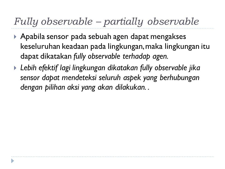 Fully observable – partially observable  Apabila sensor pada sebuah agen dapat mengakses keseluruhan keadaan pada lingkungan, maka lingkungan itu dap