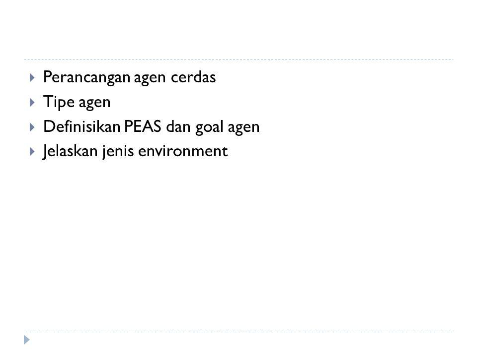  Perancangan agen cerdas  Tipe agen  Definisikan PEAS dan goal agen  Jelaskan jenis environment