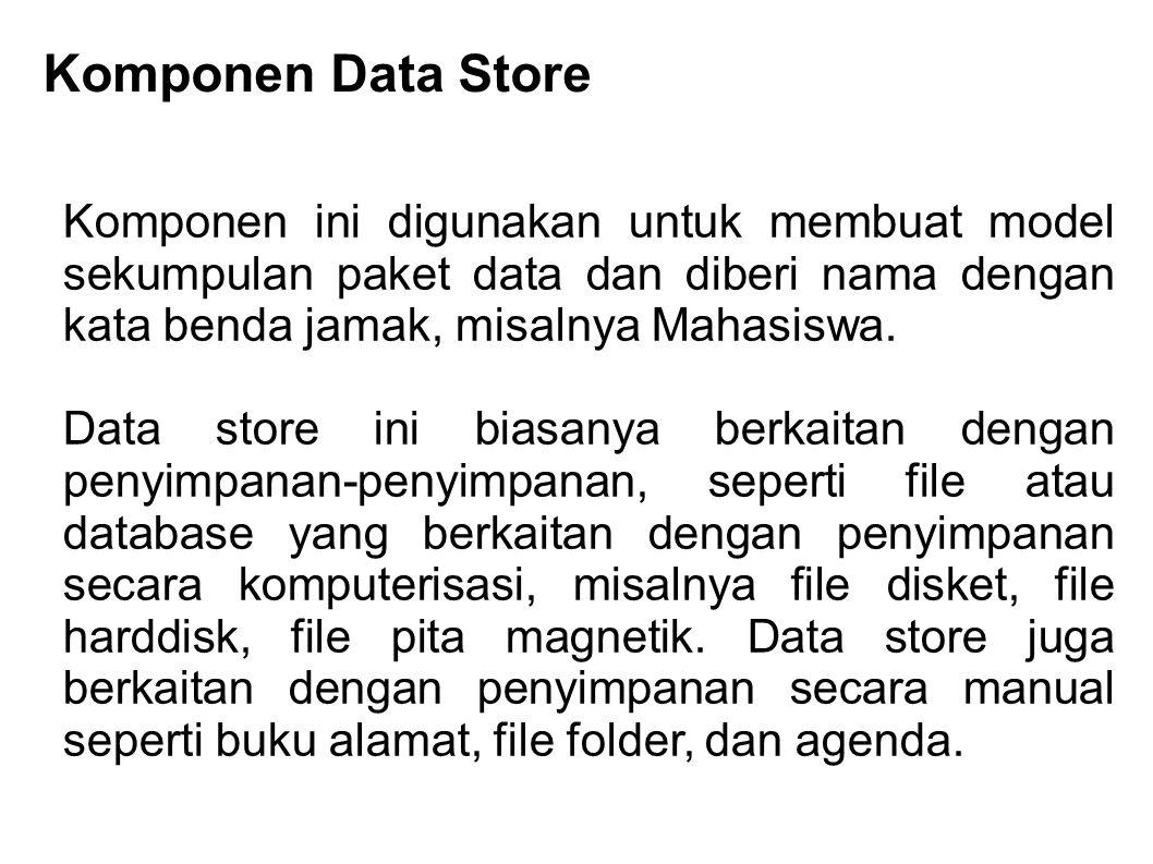Komponen Data Store Komponen ini digunakan untuk membuat model sekumpulan paket data dan diberi nama dengan kata benda jamak, misalnya Mahasiswa. Data