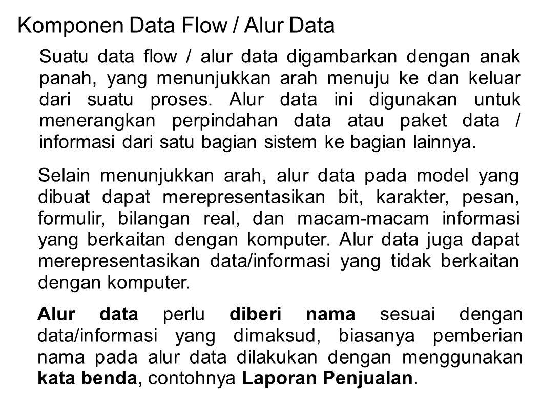 Komponen Data Flow / Alur Data Suatu data flow / alur data digambarkan dengan anak panah, yang menunjukkan arah menuju ke dan keluar dari suatu proses.