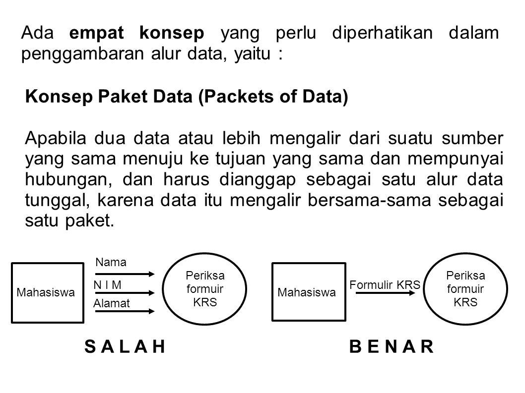 Ada empat konsep yang perlu diperhatikan dalam penggambaran alur data, yaitu : Konsep Paket Data (Packets of Data) Apabila dua data atau lebih mengalir dari suatu sumber yang sama menuju ke tujuan yang sama dan mempunyai hubungan, dan harus dianggap sebagai satu alur data tunggal, karena data itu mengalir bersama-sama sebagai satu paket.