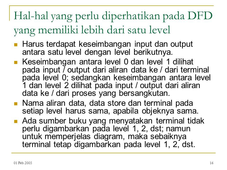 01 Feb 200516 Hal-hal yang perlu diperhatikan pada DFD yang memiliki lebih dari satu level Harus terdapat keseimbangan input dan output antara satu le