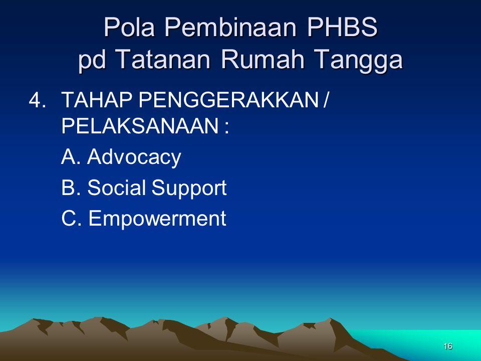 16 Pola Pembinaan PHBS pd Tatanan Rumah Tangga 4.TAHAP PENGGERAKKAN / PELAKSANAAN : A.