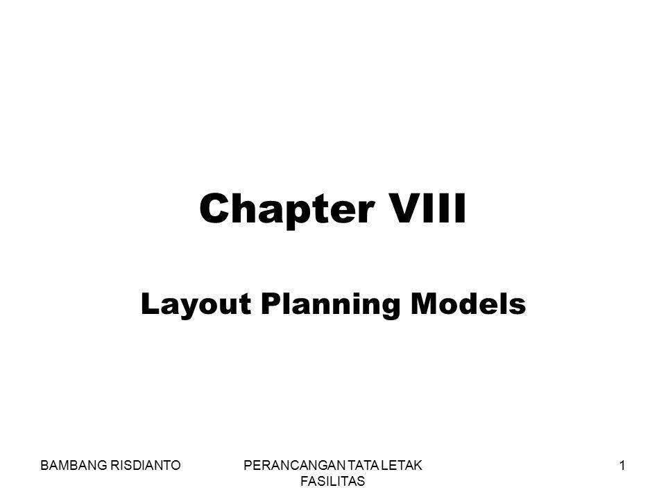 BAMBANG RISDIANTOPERANCANGAN TATA LETAK FASILITAS 1 Chapter VIII Layout Planning Models