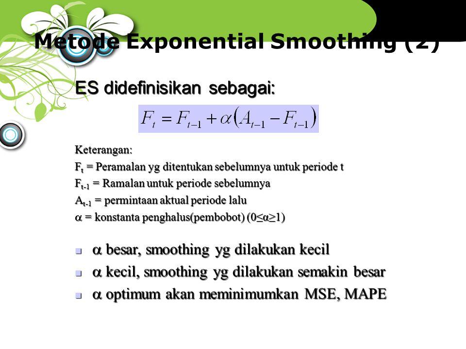 Metode Exponential Smoothing (2)  besar, smoothing yg dilakukan kecil  besar, smoothing yg dilakukan kecil  kecil, smoothing yg dilakukan semakin b