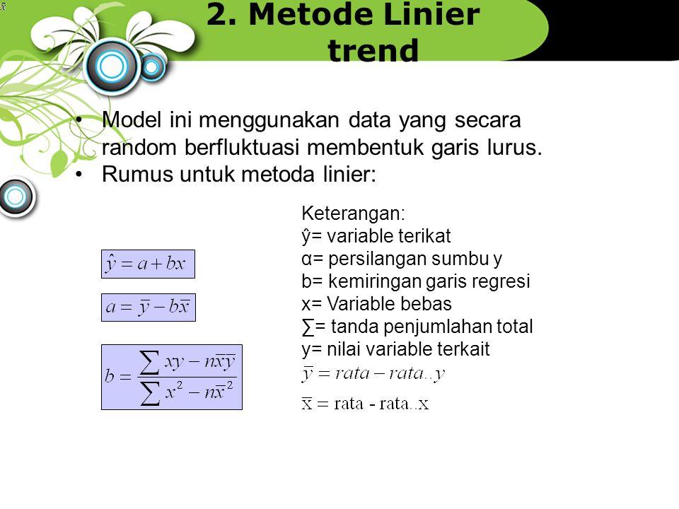 2. Metode Linier trend Keterangan: ŷ= variable terikat α= persilangan sumbu y b= kemiringan garis regresi x= Variable bebas ∑= tanda penjumlahan total