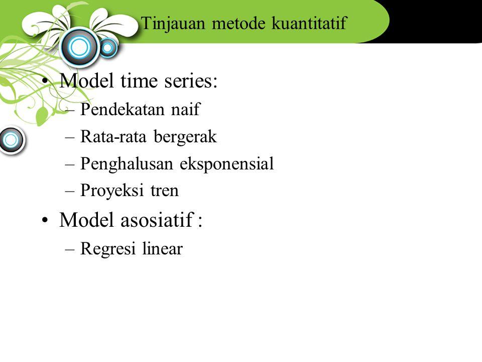 Tinjauan metode kuantitatif Model time series: –Pendekatan naif –Rata-rata bergerak –Penghalusan eksponensial –Proyeksi tren Model asosiatif : –Regres