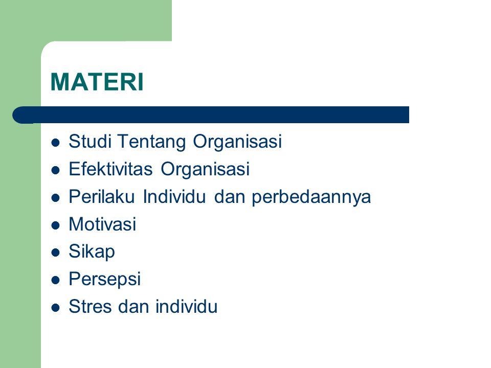 MATERI Studi Tentang Organisasi Efektivitas Organisasi Perilaku Individu dan perbedaannya Motivasi Sikap Persepsi Stres dan individu