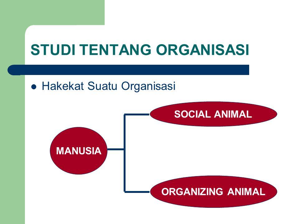 STUDI TENTANG ORGANISASI Hakekat Suatu Organisasi MANUSIA SOCIAL ANIMAL ORGANIZING ANIMAL