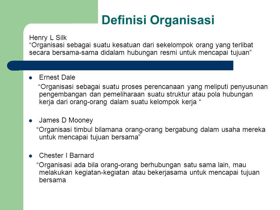 """Definisi Organisasi Henry L Silk """"Organisasi sebagai suatu kesatuan dari sekelompok orang yang terlibat secara bersama-sama didalam hubungan resmi unt"""