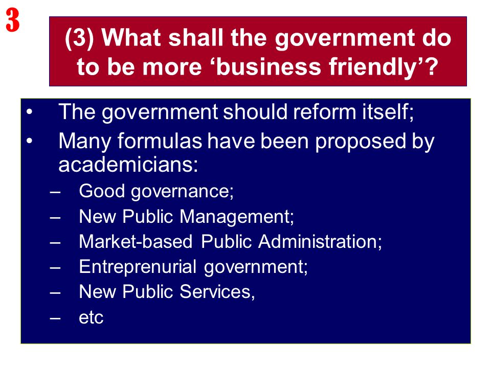 (3) What shall the government do to be more 'business friendly'? The government should reform itself; Many formulas have been proposed by academicians