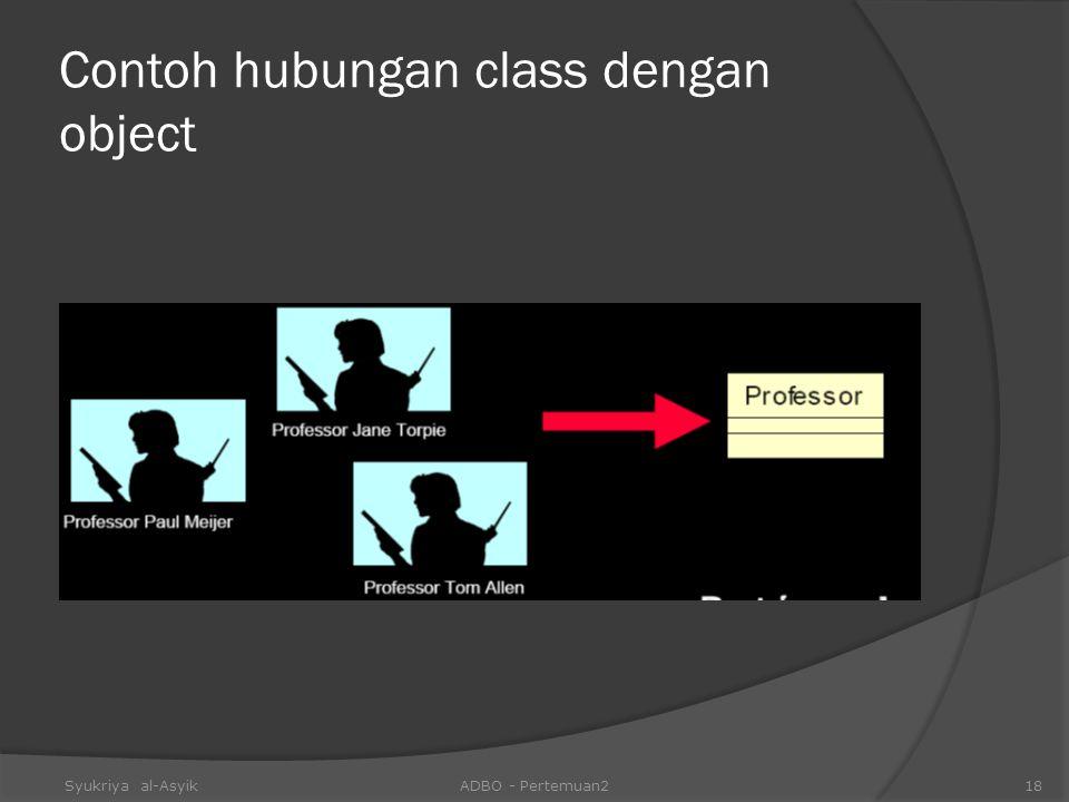 Contoh hubungan class dengan object Syukriya al-AsyikADBO - Pertemuan218