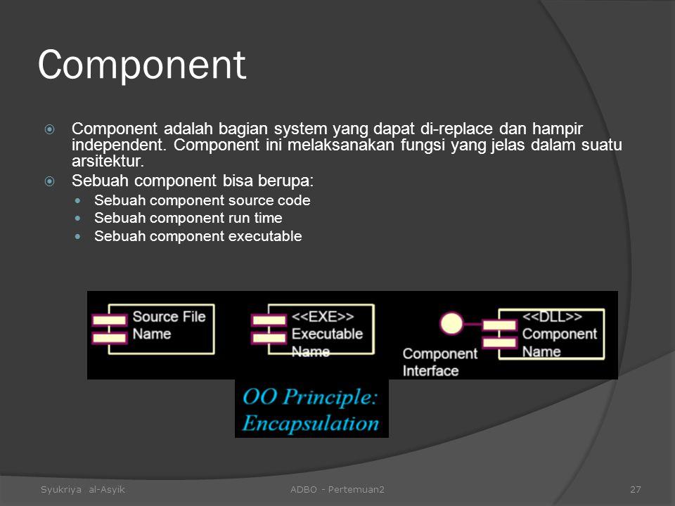 Component  Component adalah bagian system yang dapat di-replace dan hampir independent. Component ini melaksanakan fungsi yang jelas dalam suatu arsi