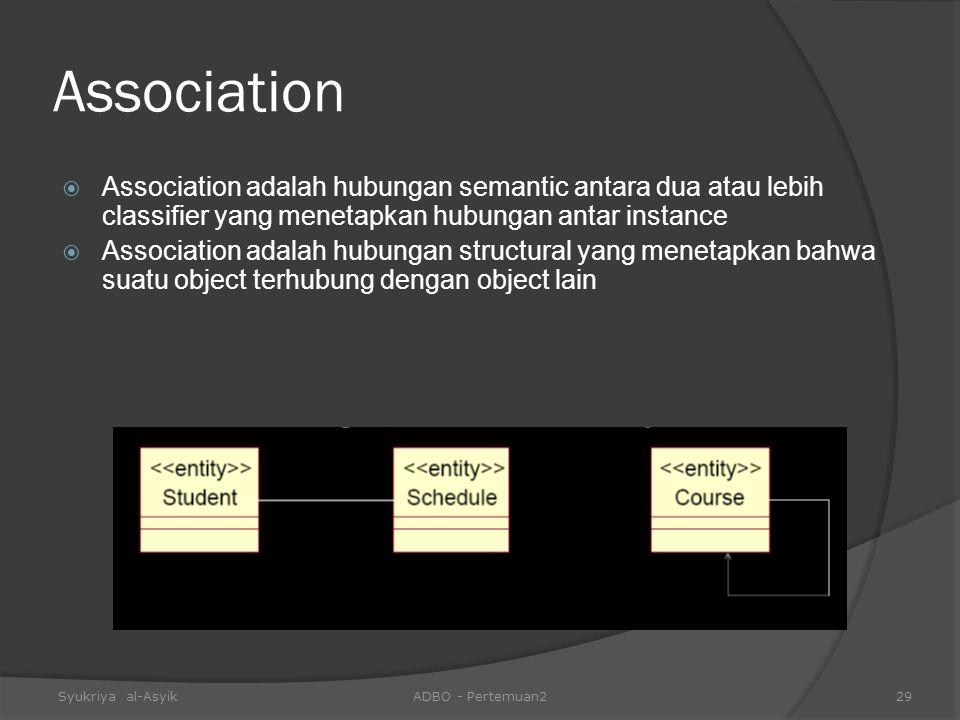 Association  Association adalah hubungan semantic antara dua atau lebih classifier yang menetapkan hubungan antar instance  Association adalah hubun