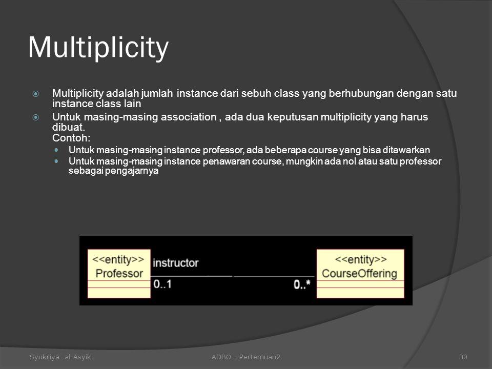Multiplicity  Multiplicity adalah jumlah instance dari sebuh class yang berhubungan dengan satu instance class lain  Untuk masing-masing association