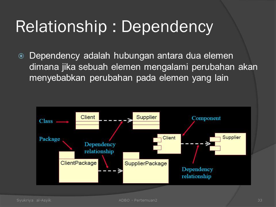 Relationship : Dependency  Dependency adalah hubungan antara dua elemen dimana jika sebuah elemen mengalami perubahan akan menyebabkan perubahan pada