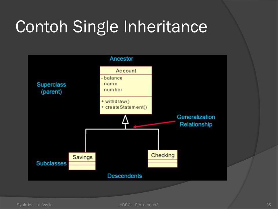 Contoh Single Inheritance Syukriya al-AsyikADBO - Pertemuan235
