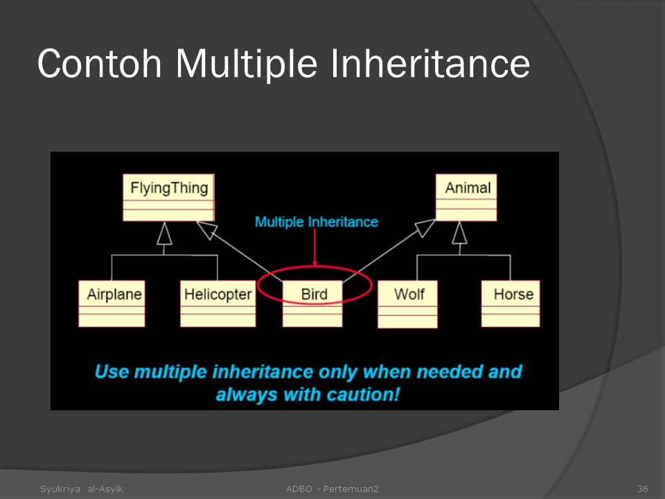 Contoh Multiple Inheritance Syukriya al-AsyikADBO - Pertemuan236