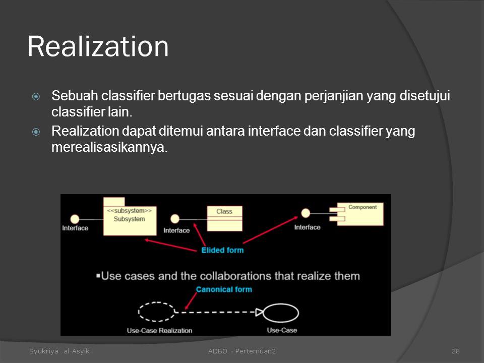 Realization  Sebuah classifier bertugas sesuai dengan perjanjian yang disetujui classifier lain.  Realization dapat ditemui antara interface dan cla