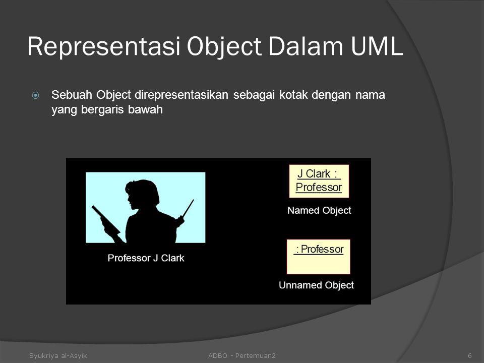 Representasi Object Dalam UML  Sebuah Object direpresentasikan sebagai kotak dengan nama yang bergaris bawah Syukriya al-AsyikADBO - Pertemuan26