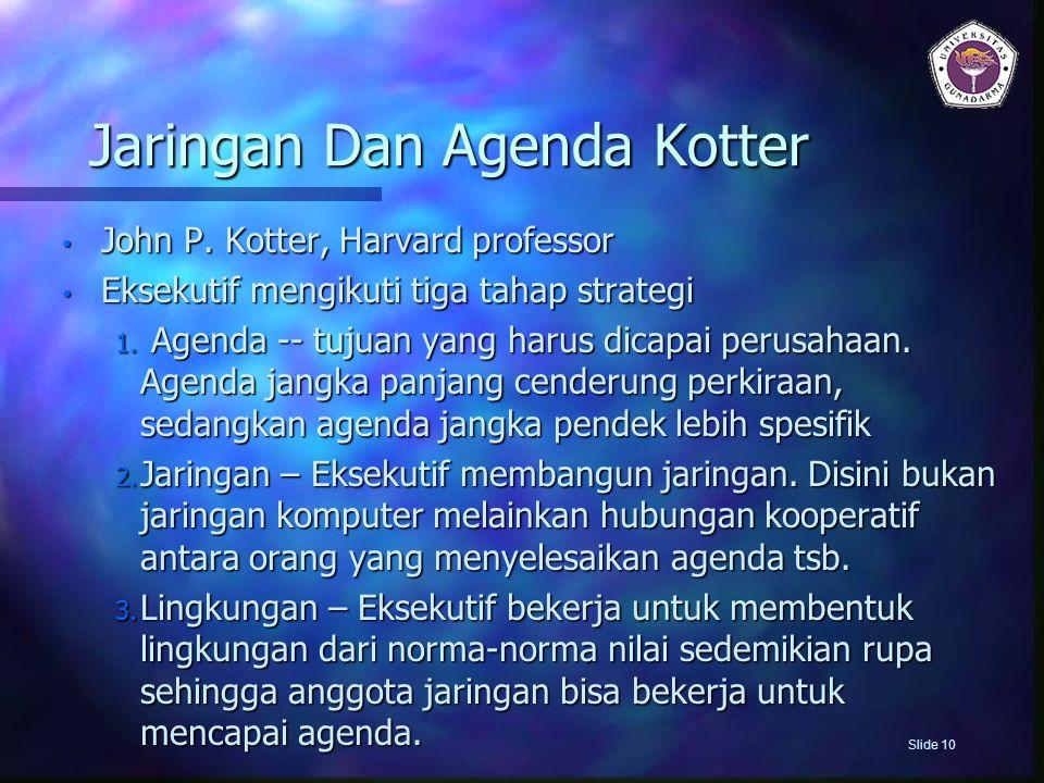 Jaringan Dan Agenda Kotter John P. Kotter, Harvard professor John P. Kotter, Harvard professor Eksekutif mengikuti tiga tahap strategi Eksekutif mengi