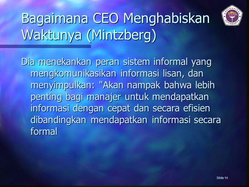 Bagaimana CEO Menghabiskan Waktunya (Mintzberg) Dia menekankan peran sistem informal yang mengkomunikasikan informasi lisan, dan menyimpulkan: