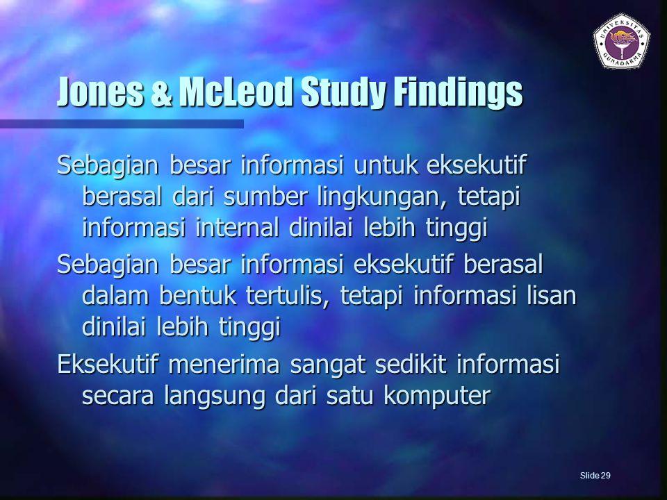 Jones & McLeod Study Findings Sebagian besar informasi untuk eksekutif berasal dari sumber lingkungan, tetapi informasi internal dinilai lebih tinggi