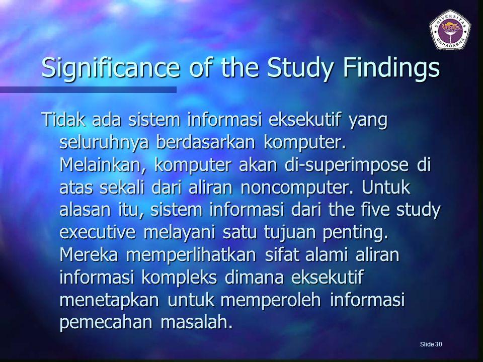 Significance of the Study Findings Tidak ada sistem informasi eksekutif yang seluruhnya berdasarkan komputer. Melainkan, komputer akan di-superimpose