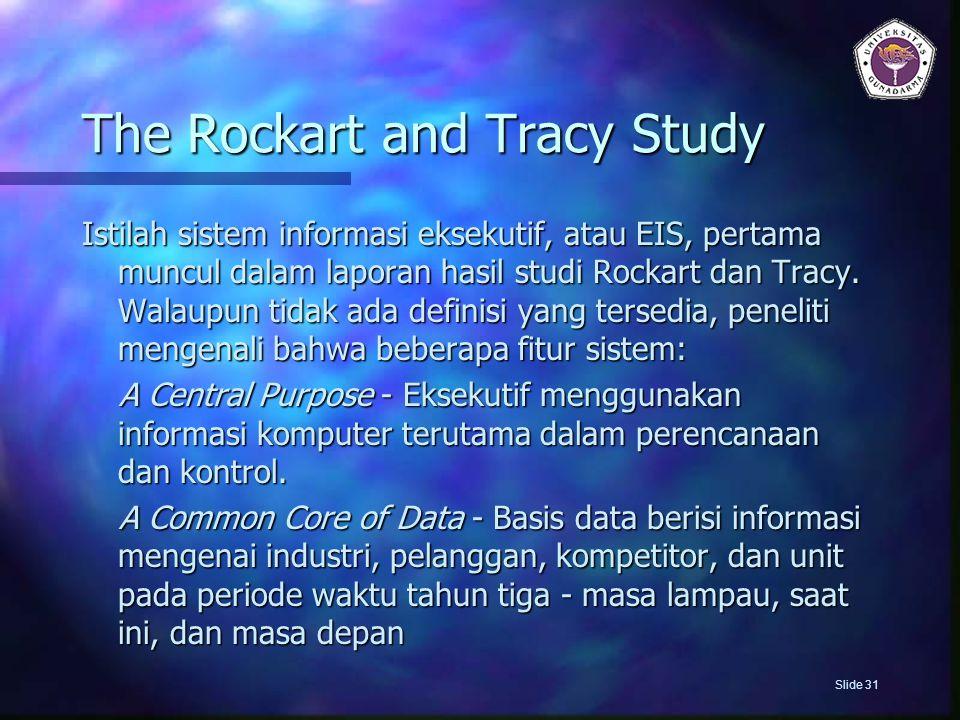 The Rockart and Tracy Study Istilah sistem informasi eksekutif, atau EIS, pertama muncul dalam laporan hasil studi Rockart dan Tracy. Walaupun tidak a