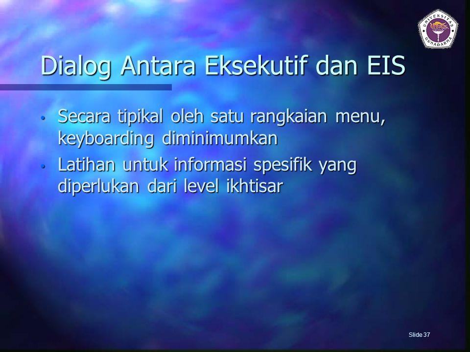 Dialog Antara Eksekutif dan EIS Secara tipikal oleh satu rangkaian menu, keyboarding diminimumkan Secara tipikal oleh satu rangkaian menu, keyboarding