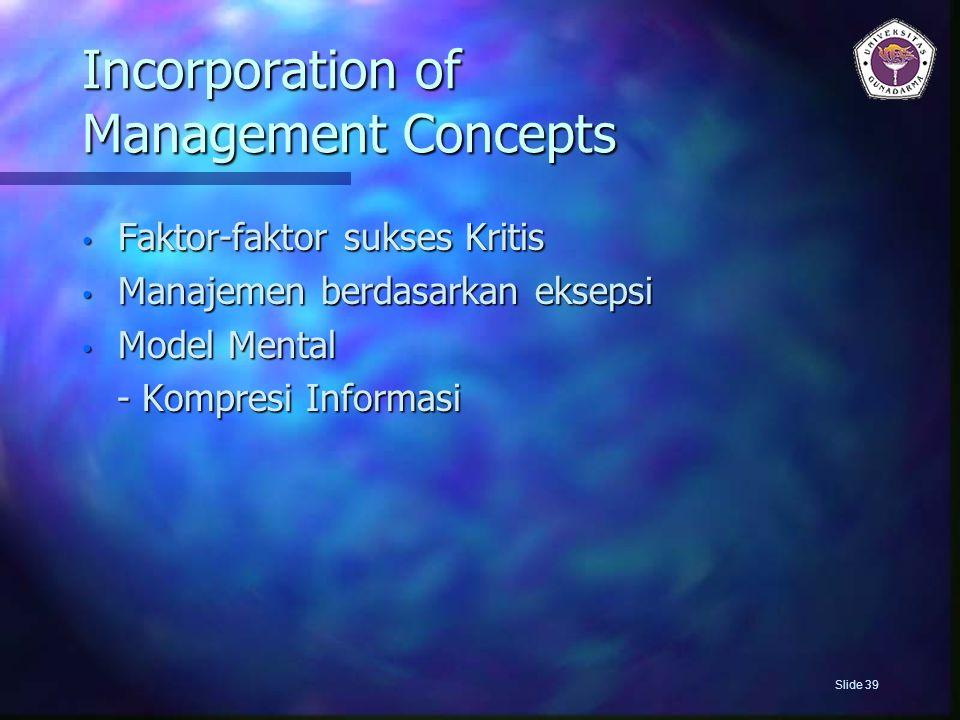 Incorporation of Management Concepts Faktor-faktor sukses Kritis Faktor-faktor sukses Kritis Manajemen berdasarkan eksepsi Manajemen berdasarkan eksep