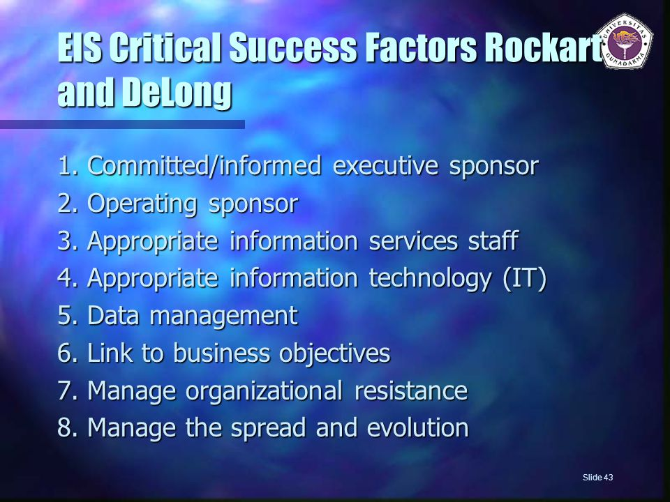 EIS Critical Success Factors Rockart and DeLong 1.