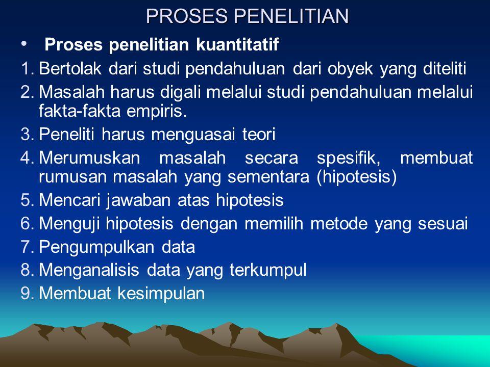 PROSES PENELITIAN Proses penelitian kuantitatif 1.Bertolak dari studi pendahuluan dari obyek yang diteliti 2.Masalah harus digali melalui studi pendah