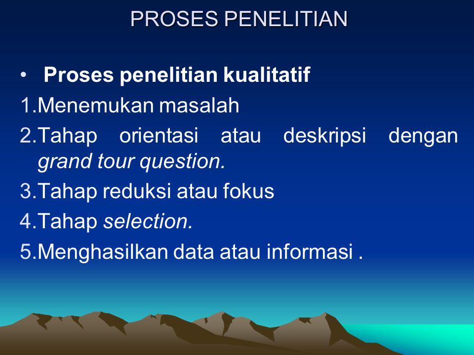 PROSES PENELITIAN Proses penelitian kualitatif 1.Menemukan masalah 2.Tahap orientasi atau deskripsi dengan grand tour question. 3.Tahap reduksi atau f