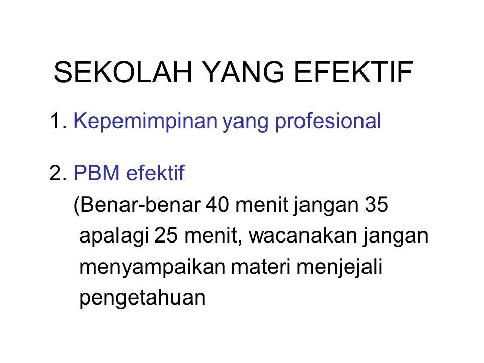 SEKOLAH YANG EFEKTIF 1. Kepemimpinan yang profesional 2. PBM efektif (Benar-benar 40 menit jangan 35 apalagi 25 menit, wacanakan jangan menyampaikan m