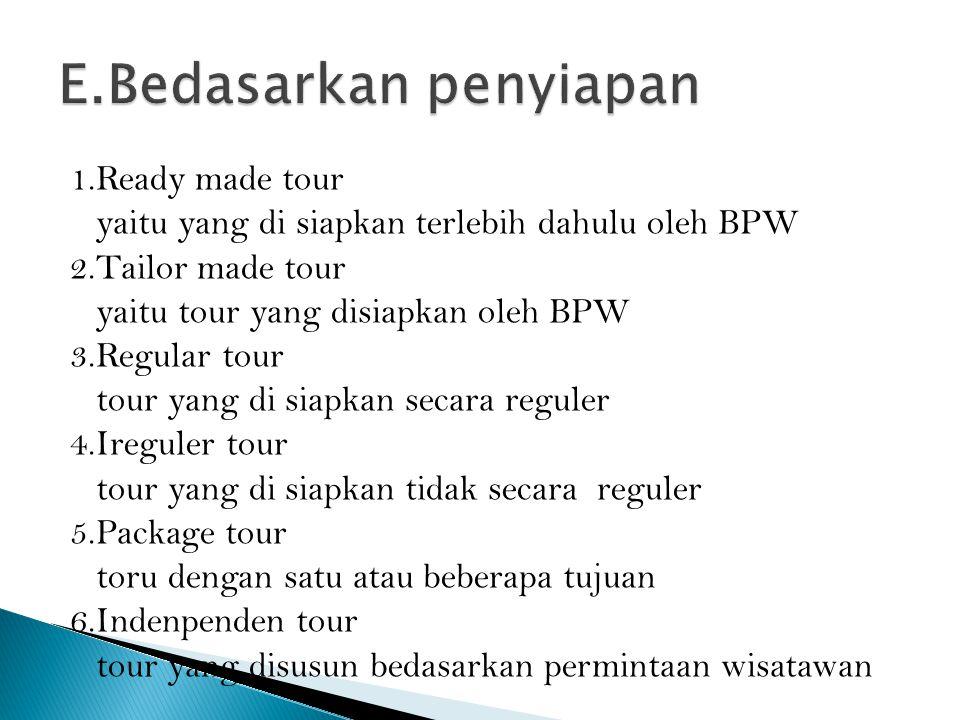 1.Ready made tour yaitu yang di siapkan terlebih dahulu oleh BPW 2.Tailor made tour yaitu tour yang disiapkan oleh BPW 3.Regular tour tour yang di sia
