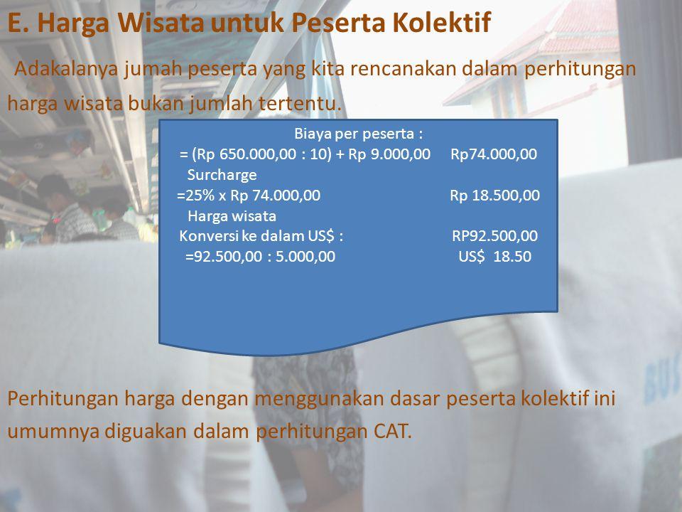 E. Harga Wisata untuk Peserta Kolektif Adakalanya jumah peserta yang kita rencanakan dalam perhitungan harga wisata bukan jumlah tertentu. Perhitungan