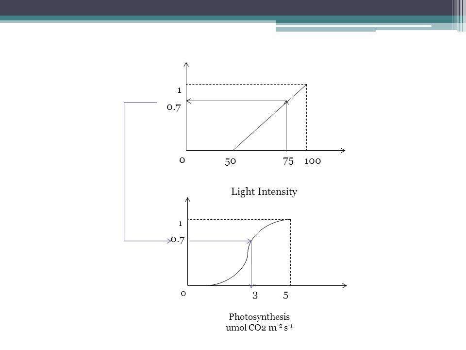 0 1 50100 Light Intensity 75 0.7 0 1 Photosynthesis umol CO2 m -2 s -1 53 0.7