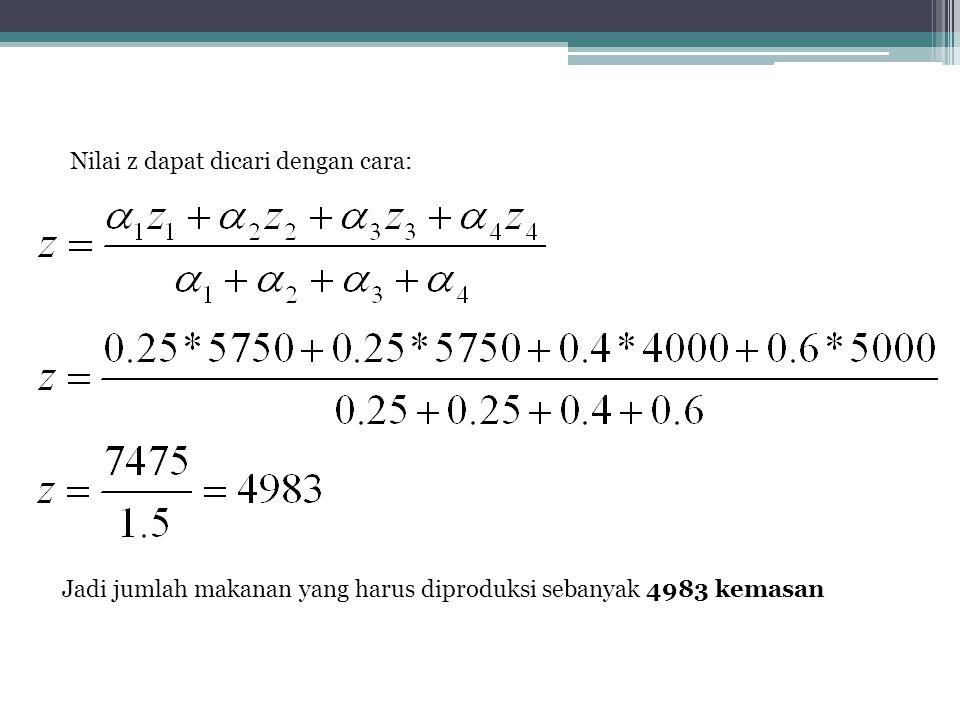 Nilai z dapat dicari dengan cara: Jadi jumlah makanan yang harus diproduksi sebanyak 4983 kemasan