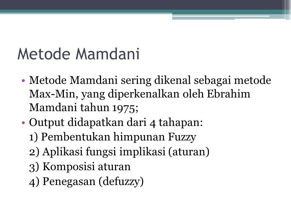 Metode Mamdani Metode Mamdani sering dikenal sebagai metode Max-Min, yang diperkenalkan oleh Ebrahim Mamdani tahun 1975; Output didapatkan dari 4 taha