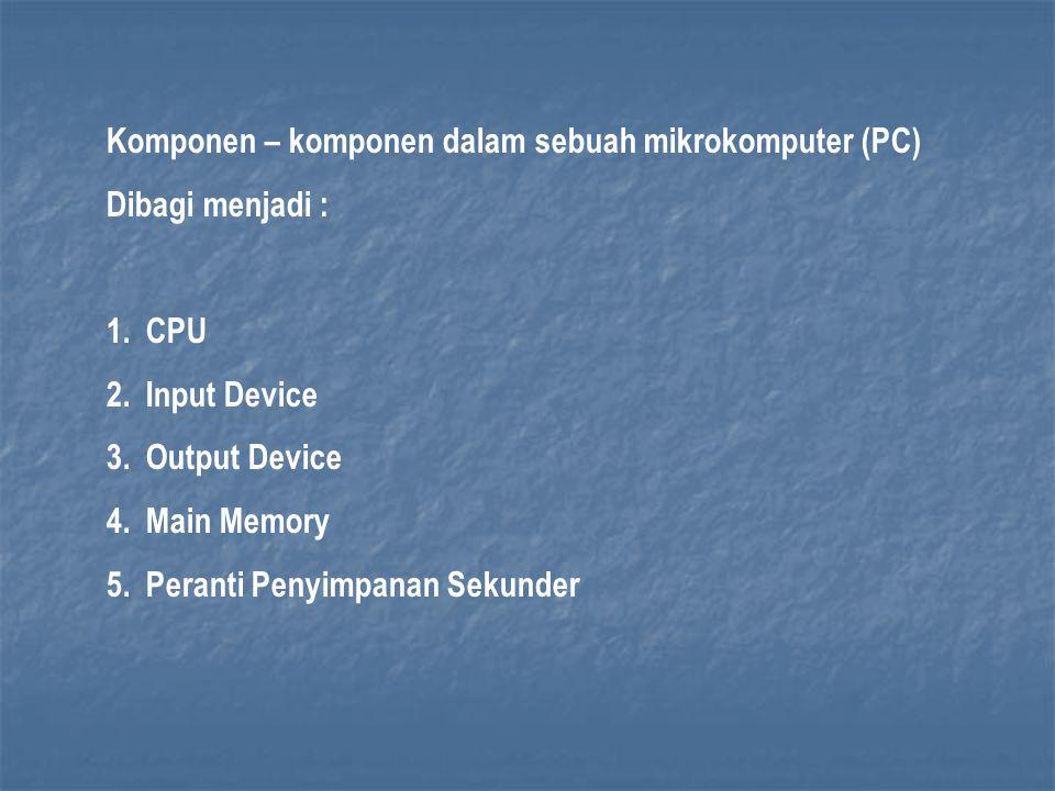 Komponen – komponen dalam sebuah mikrokomputer (PC) Dibagi menjadi : 1.CPU 2.Input Device 3.Output Device 4.Main Memory 5.Peranti Penyimpanan Sekunder