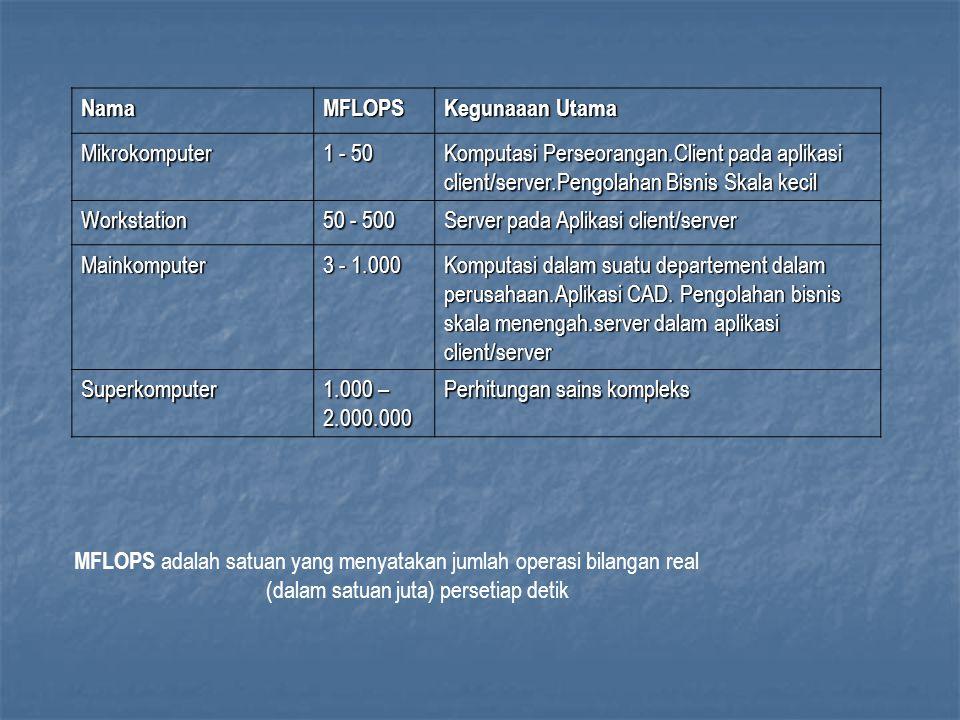 NamaMFLOPS Kegunaaan Utama Mikrokomputer 1 - 50 Komputasi Perseorangan.Client pada aplikasi client/server.Pengolahan Bisnis Skala kecil Workstation 50 - 500 Server pada Aplikasi client/server Mainkomputer 3 - 1.000 Komputasi dalam suatu departement dalam perusahaan.Aplikasi CAD.