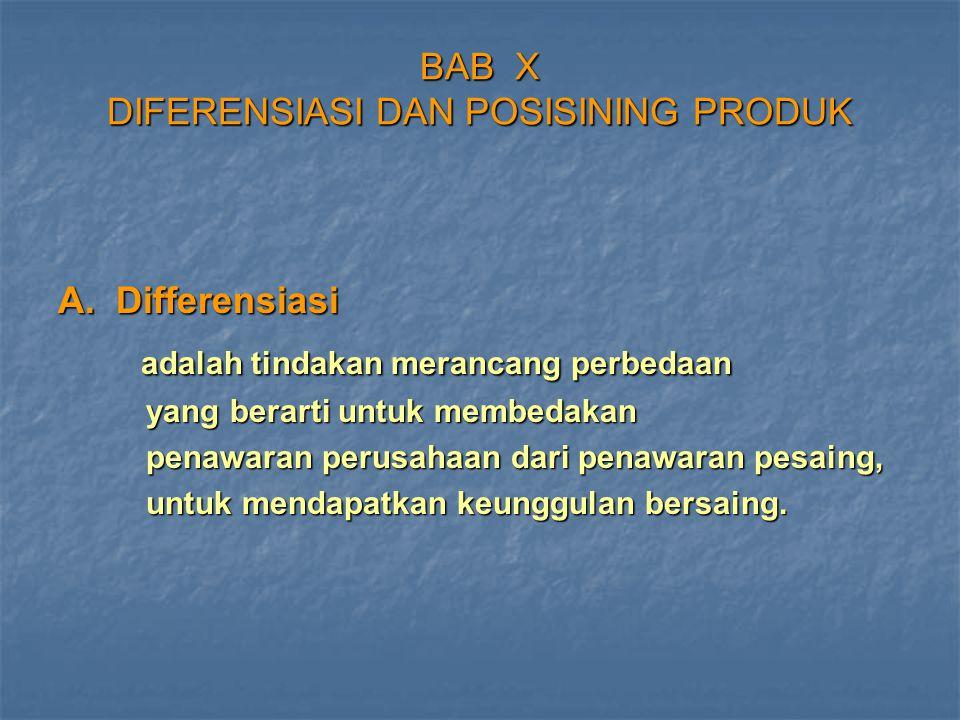 BAB X DIFERENSIASI DAN POSISINING PRODUK A. Differensiasi adalah tindakan merancang perbedaan adalah tindakan merancang perbedaan yang berarti untuk m